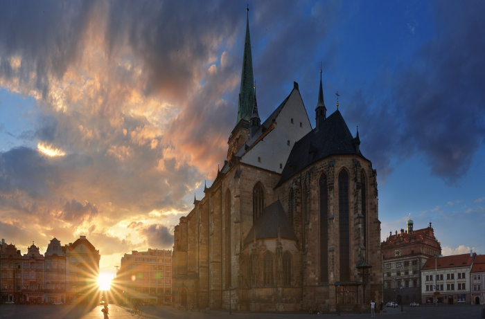 PIlsen Cathedral, the Czech Republic, in the summer.