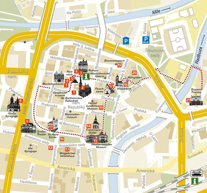 Prag Karte Sehenswurdigkeiten.Durch Das Stadtzentrum Offizielle Website Der Stadt Pilsen